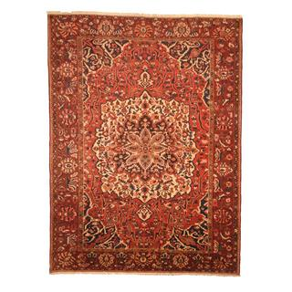 Herat Oriental Antique 1960s Persian Hand-knotted Tribal Bakhtiari Red/ Navy Wool Rug (9'6 x 12'9)