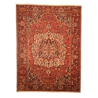 Antique 1960's Persian Hand-knotted Tribal Bakhtiari Red/ Navy Wool Rug (9'6 x 12'9)