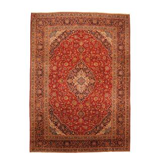 Persian Hand-knotted Kashan Red/ Blue Wool Rug (10' x 14'1)