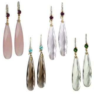 Michael Valitutti 10k Yellow Gold Pink Amethyst, Praseolite, Smokey Quartz or Pink Onyx and Gemstone and Diamond Earrings