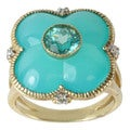 Michael Valitutti 10k Yellow Gold Blue Chalcedony, Apatite and Diamond Ring (I-J, I1-I2)