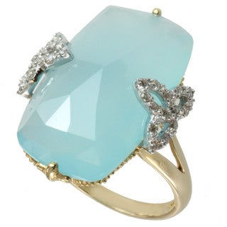 Michael Valitutti 10k Yellow Gold Blue Chalcedony and Diamond Ring (I-J, I1-I2)