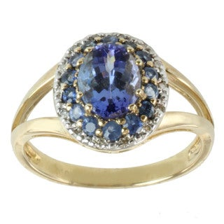 Michael Valitutti 10k Yellow Gold Tanzanite, Blue Sapphire and Diamond Ring (I-J, I1-I2)