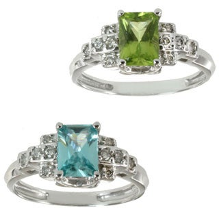 Michael Valitutti 14k White Gold Peridot or Blue Zircon and Diamond Ring (I-J, I1-I2)