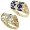 Michael Valitutti 14k Yellow Gold White or Blue and White Cubic Zirconia Ring