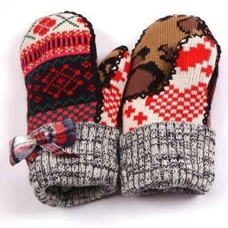 Muk Luks Girls Plaid Bow Mittens