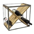 Casa Cortes Square Natural Wood And Metal Wine Rack