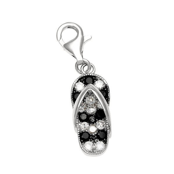 Rhodium Over Sterling SIlver Black and White Cubic Zirconia Flip Flop Charm and Clasp
