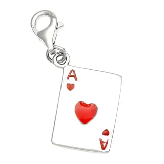 Rhodium Over Sterling Silver Ace of Hearts Card Charm and Clasp