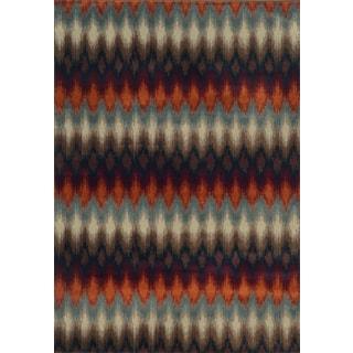 Geometric Ikat Multi/ Stone Polypropylene Rug (7'10 x 10'10)