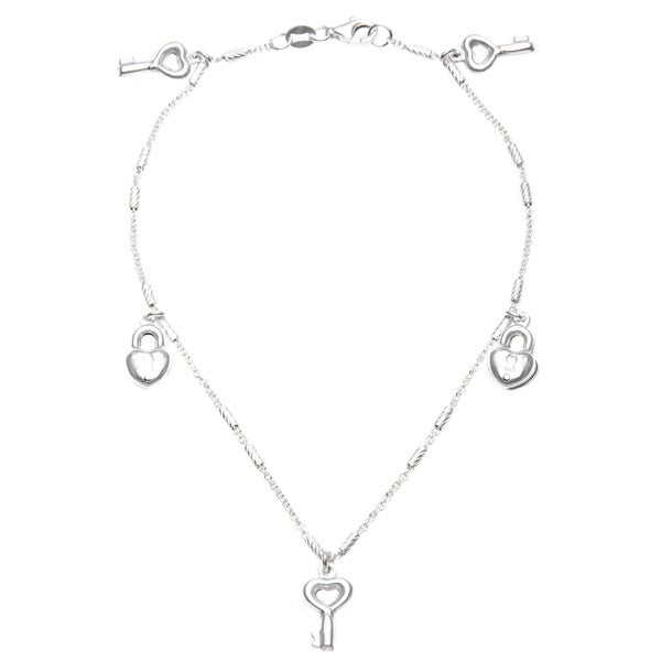 Sterling Silver Italian Locket and Key Charms Anklet