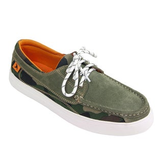 Rugged Shark Men's 'Lazy Jack' Moss Green Suede and Textile Boat Shoes
