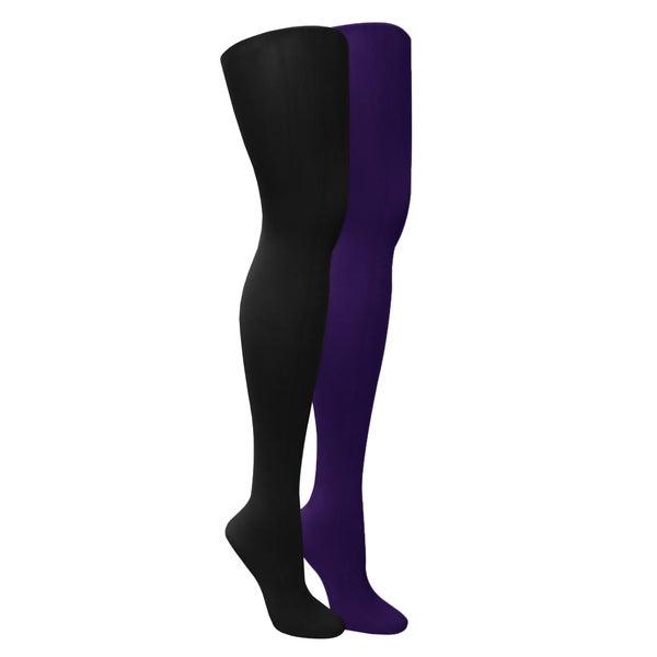 Muk Luks Women's Black/ Purple Microfiber Herringbone Tights (Set of 2 pairs)