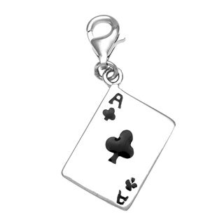 Rhodium Over Sterling Silver Ace of Clubs Card Charm and Clasp