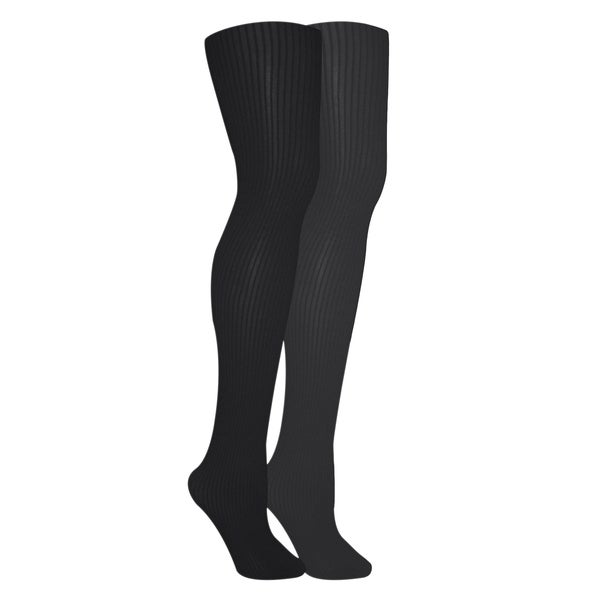 Muk Luks Women's Black/ Grey Ribbed Microfiber Tights (Set of 2 Pairs)