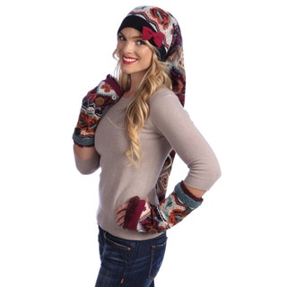 MUK LUKS Boho Stocking Cap with Button Accent Armwarmers
