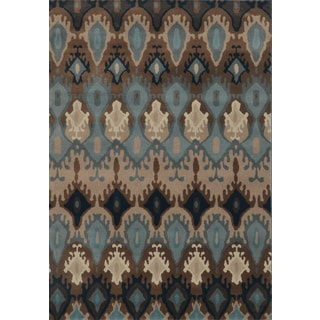 Old World Tribal Blue/ Stone Polypropylene Rug (5'3 x 7'6)
