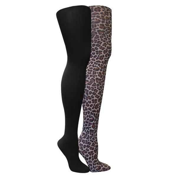 Muk Luks Women's Black/ Leopard Tights (Set of 2 pairs)
