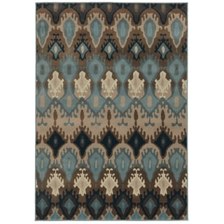 Old World Tribal Blue/ Stone Rug (9'10 x 12'9)