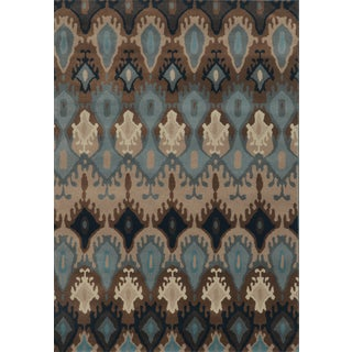 Old World Tribal Blue/ Stone Polypropylene Rug (3'10 x 5'5)