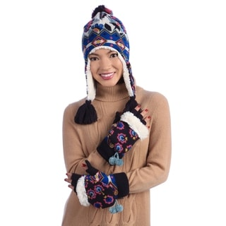 Muk Luks Printed Beanie and Gloves Set