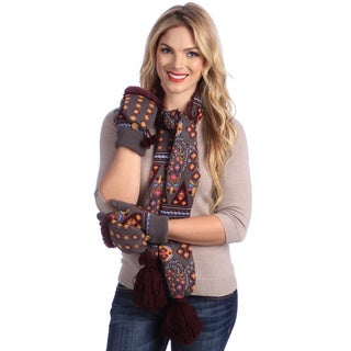 MUK LUKS Women's Grey/ Plum Knit Scarf and Glove Mitten Set