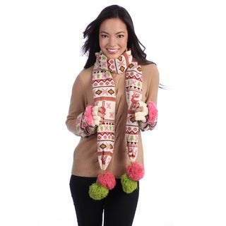 Muk Luks Women's Knit Scarf and Flip Gloves Set