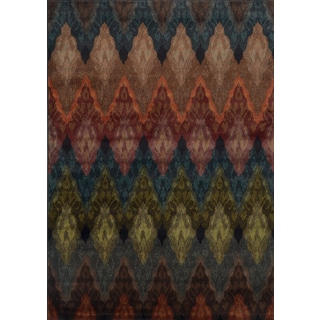 Patterned Chevron Multi/ Black Polypropylene Rug (5' x 7'6)