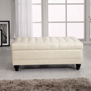 Castillian Collection Classic Creamy White Tufted Storage Bench Ottoman