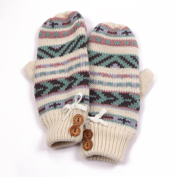 Muk Luks Girls Pastel Purple Button Mittens