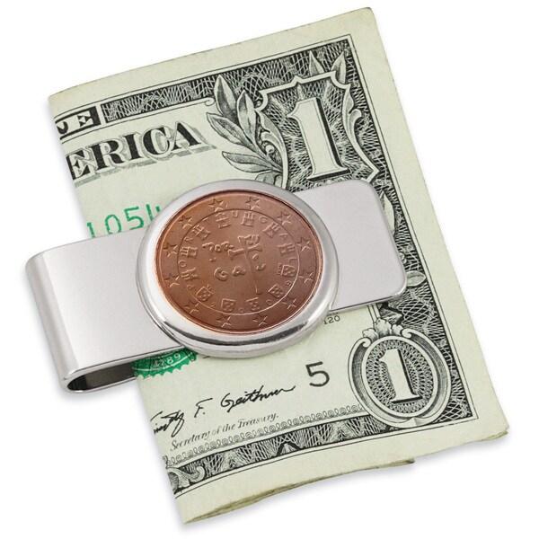 Portugal Royal Seal Five Cent Euro Coin Silvertone Money Clip