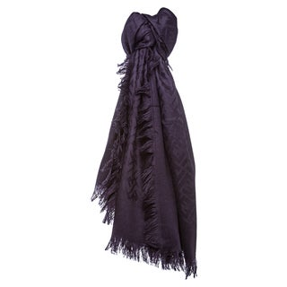 Fendi Purple Oversized Zucca Silk and Wool Wrap