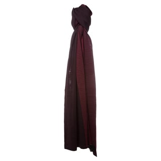 Fendi Burgundy Micro Zucchino Dual Colored Wool Scarf