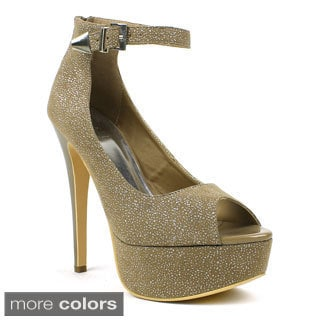 Fahrenheit Women's 'Janelle-02' Glittery Ankle-strap Platform Pumps