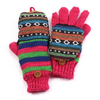 Muk Luks Girls Purple Patterned Flip Mittens