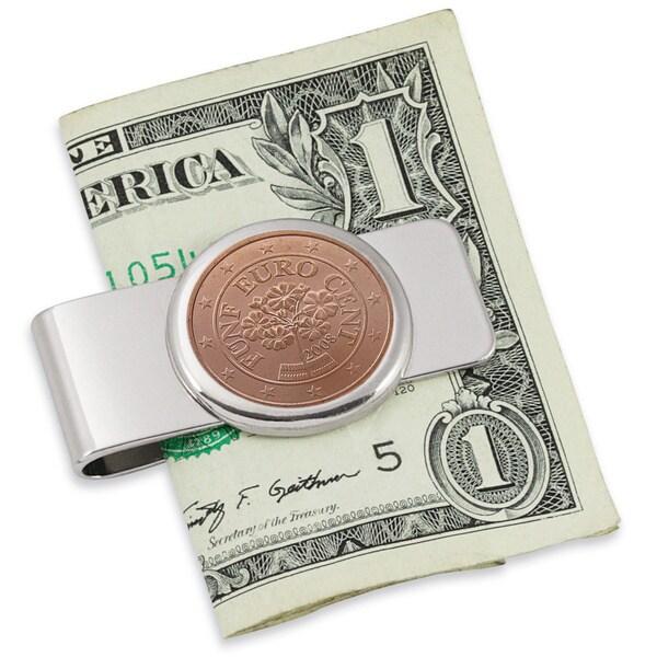 Austrian Primrose Five-cent Euro Coin Silvertone Money Clip