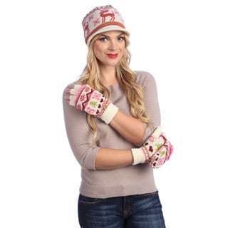 MUK LUKS Vanilla/ Tea Rose Visor Beanie and Flip Gloves Set