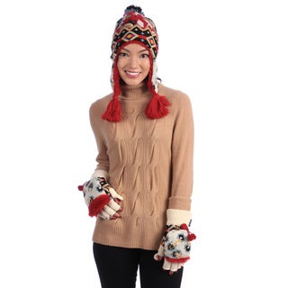 Muk Luks Women's Faux Fur Hat and Glove Mitten Set