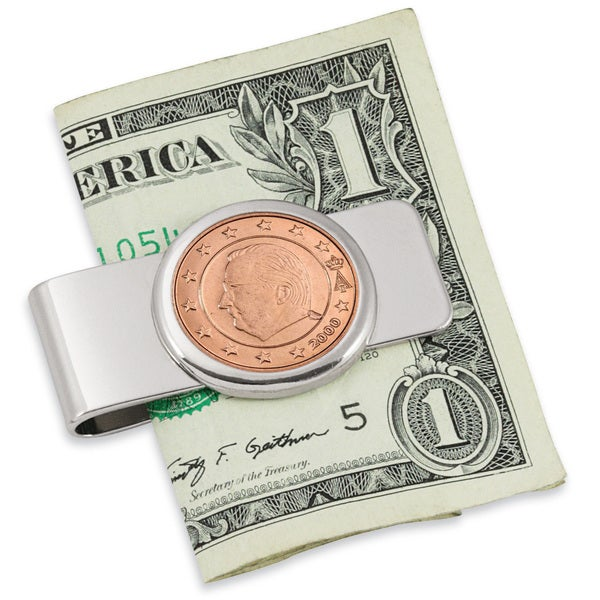 Belgium King Albert II Five-cent Euro Coin Silvertone Money Clip