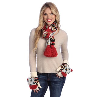 MUK LUKS Knit Scarf with Tassels and Fur Lined Glove Mitt