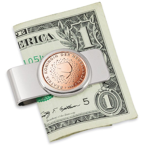 Netherlands Queen Beatrix Five Cent Euro Coin Silvertone Money Clip