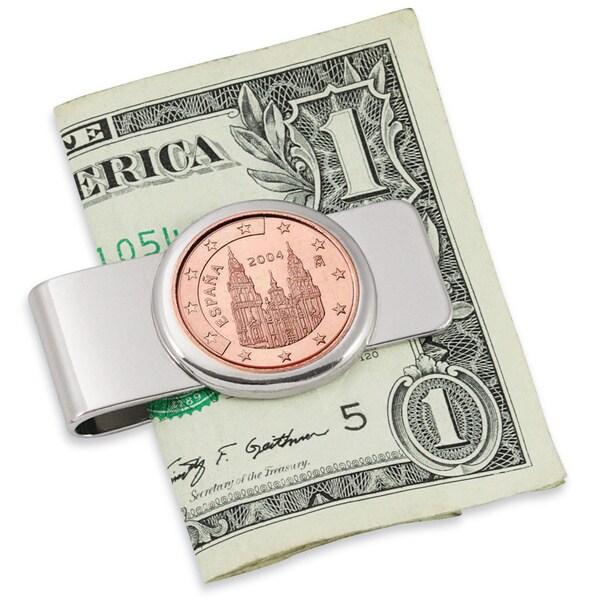 Spain Obradoiro 5-Cent Euro Coin Silvertone Money Clip