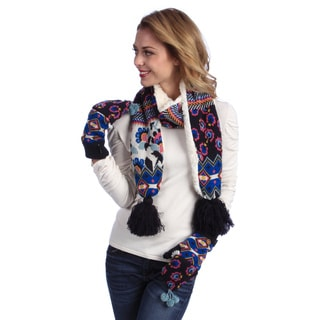 Muk Luks Women's Knit Scarf and Flip Mittens Set