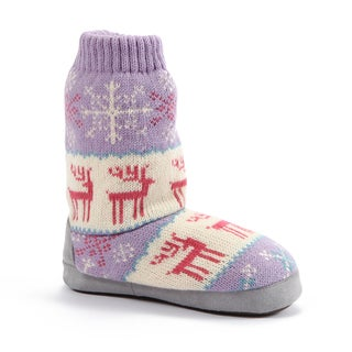 Muk Luks Girls 'Deer Fairisle' Purple Slipper Boots