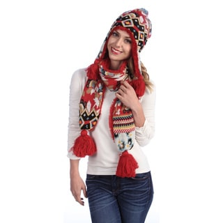 Muk Luks Women's Faux Fur Hat and Knit Tassel Scarf Set