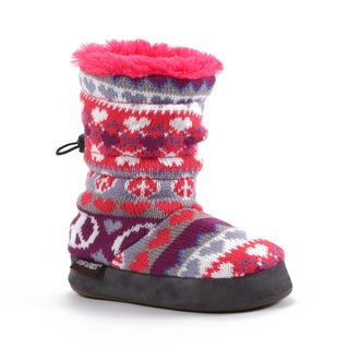 Muk Luks Girls Heart/ Peace FairIsle Print Slipper Boots