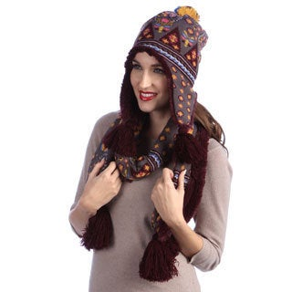 MUK LUKS Faux-Fur Lined Helmet and Knit Acrylic Scarf with Tassels