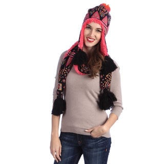 MUK LUKS Faux-Fur Lined Helmet and Knit Patterned Scarf with Tassels