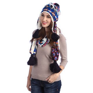 Muk Luks Women's Knit Helmet Beanie and Scarf Set