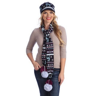 Multicolored MUK LUKS Visor Beanie and Knit Scarf with Large Poms